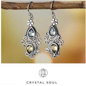 JustIn🎉Vintage Flower WaterDrop Crystal Earrings